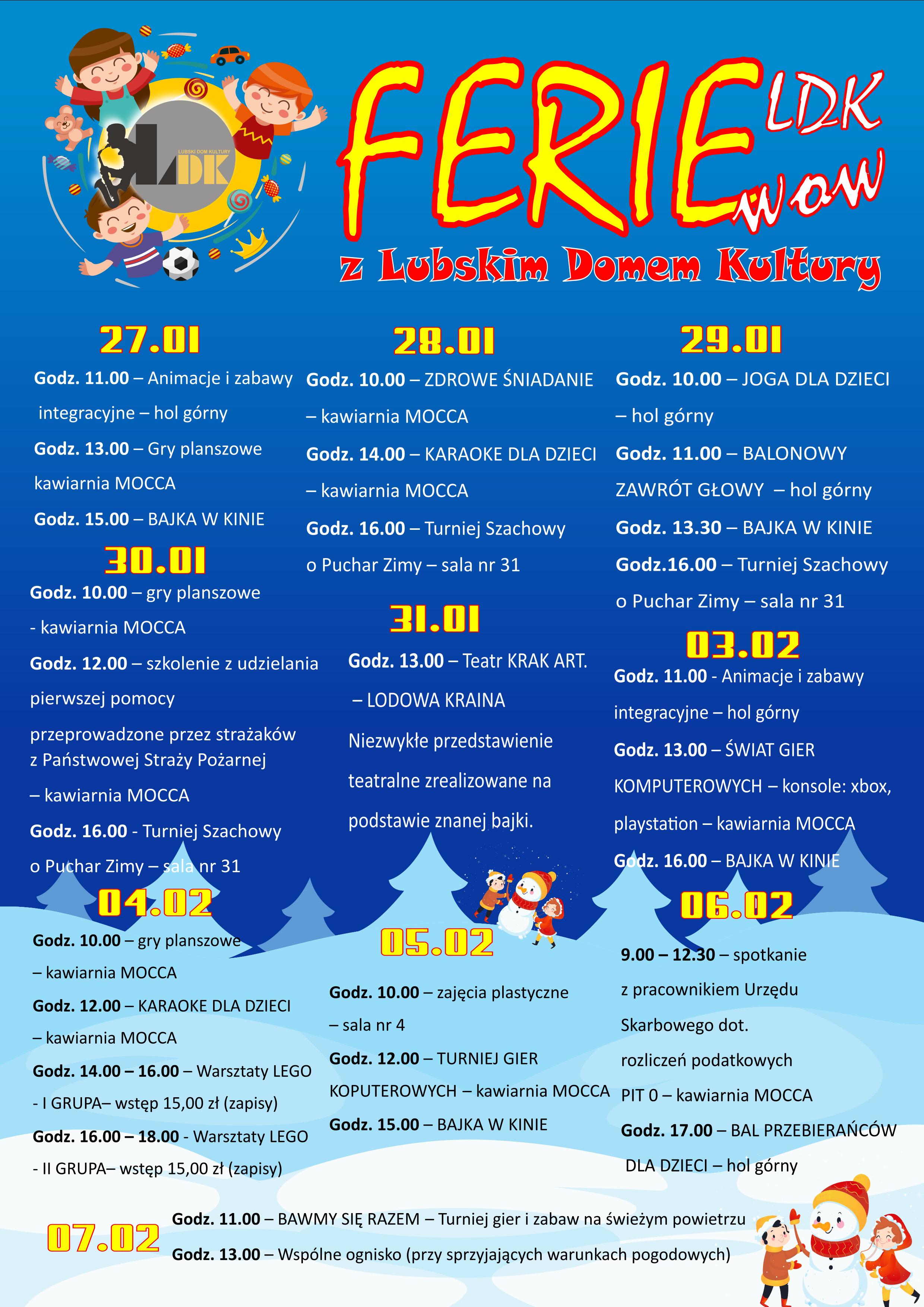Ilustracja do informacji: Szczegółowy plan Ferii zimowych