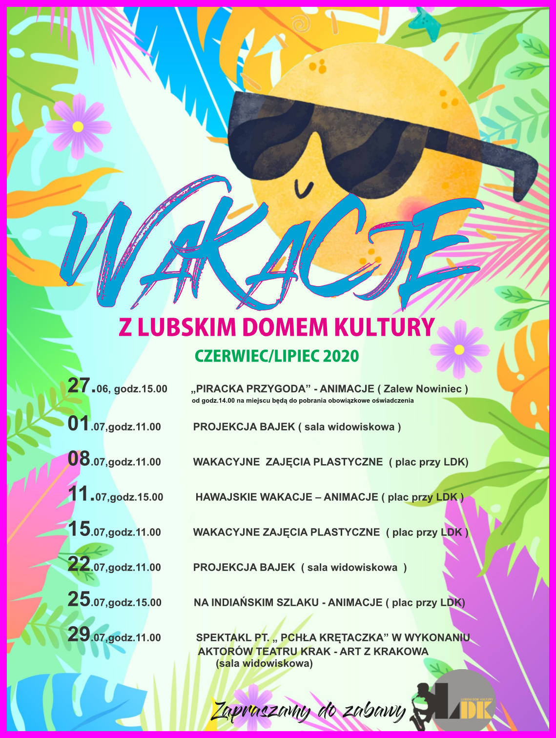 Ilustracja do informacji: Wakacje z Lubskim Domem Kultury czerwiec/lipiec 2020